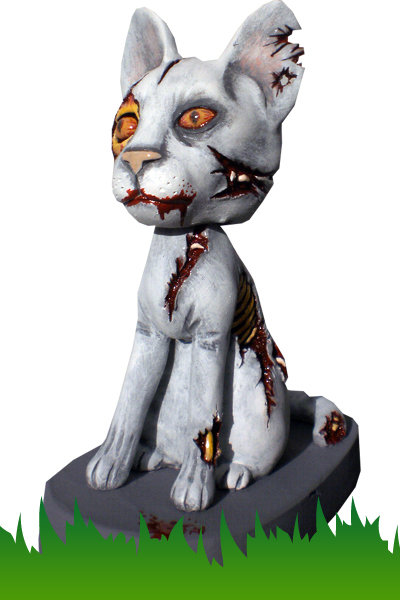 Zombie cat bobblehead