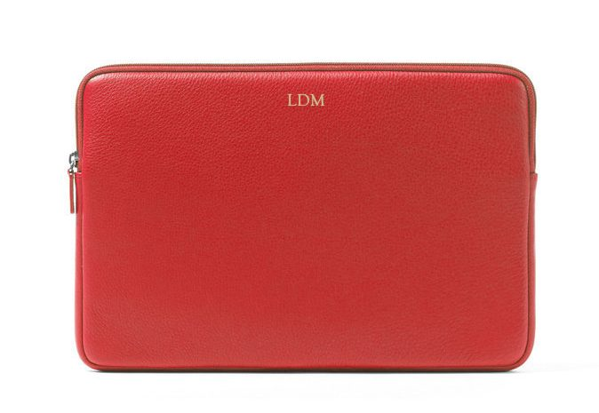 Monogrammed leather laptop sleeve