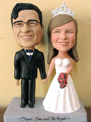 wedding cake custom bobblehead toppers